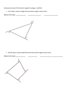 Discovering the sum of the exterior angles of a polygon