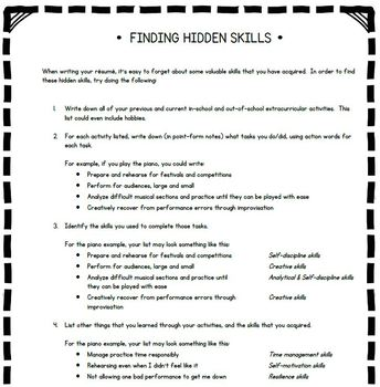 Discovering your skills: A skills inventory for students