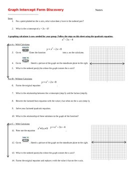 Discovery Activity - Graph Standard form to Intercept Form