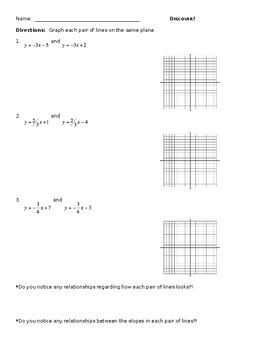 Discovery Activity for Parallel & Perpendicular Line Relat