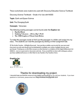 Discovery Education Science Techbook - Grade 4: Volcano Review Worksheets