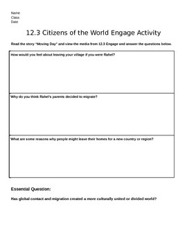 Discovery Education, Grade 7 SS Techbook: Ch. 12.3 Engage Graphic Org