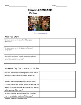 Discovery Education, Grade 7 SS Techbook: Ch. 4.2 Engage Activity Worksheet