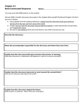 Discovery Education, Grade 7 SS Techbook: Ch. 4.3 Brief Constructed Response