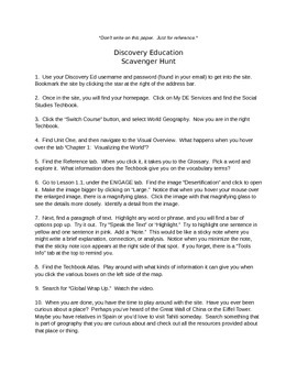 Discovery Education, Grade 7 World Geography Techbook: Before Beginning Ch. 1