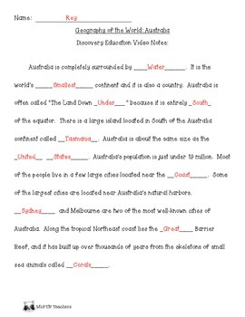 Discovery Education Notes for Australia With Word Bank