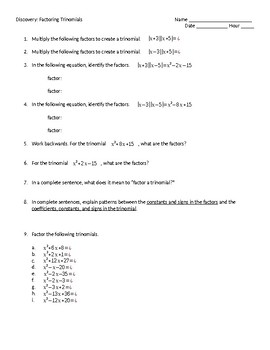 Discovery: Factoring Trinomials