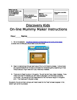 Mummy-Maker Activity (using online Discovery Kids)
