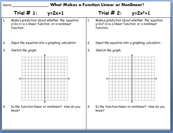 Linear And Nonlinear Functions Worksheet Worksheets for all ...