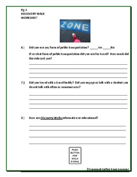 Discovery Walks Worksheet
