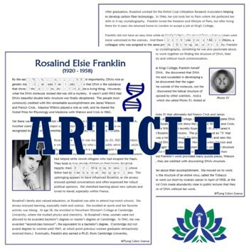 Women in Science Discovery of DNA Reading  - Rosalind Franklin NGSS MS-LS3-1