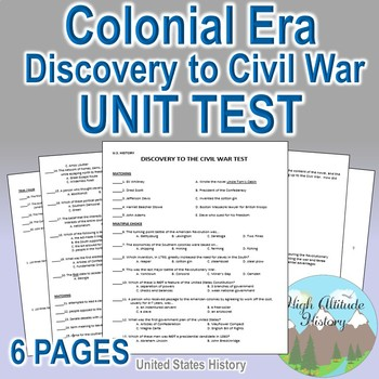 Discovery to Civil War Unit Test / Exam / Assessment (U.S. History)