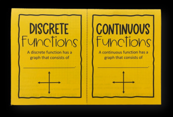Discrete & Continuous Functions (Foldable) for Algebra 1