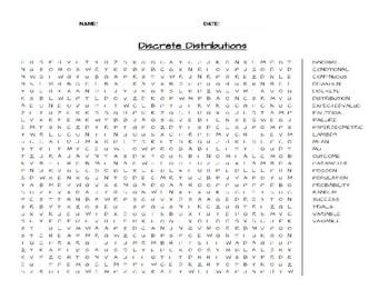 Discrete Distributions Word Search