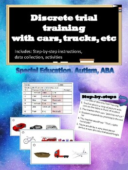 Discrete Trial- Transportation Cars, Airplane for Autism, ABA, Special Ed
