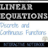 Discrete and Continuous Functions notes Color Coded Interactive Notebook