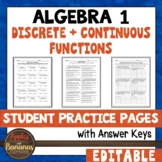 Discrete and Continuous Functions - Student Practice Pages