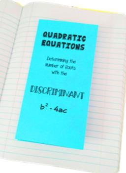Quadratic Equations Discriminant Card Sort Foldable Trifold Activity