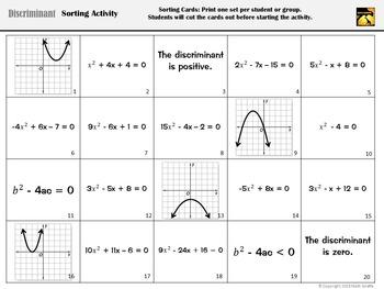 Discriminant Card Sort (for Quadratic Equations)