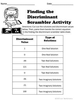 Discriminant Scramble Puzzle Activity
