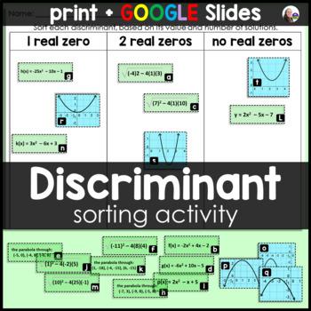 Discriminant Sorting Activity for Quadratics