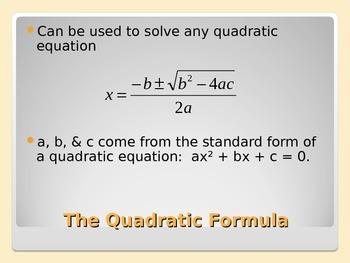 Discriminant and Quadratic Formula