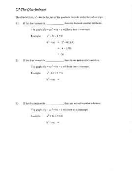 Discriminant guided notes example review organizer quadratic formula