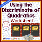Discriminate of Quadratics Worksheet