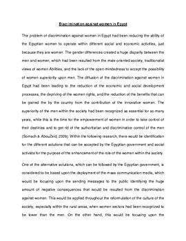 Discrimination against women in Egypt