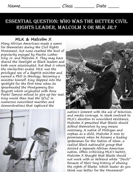 Discrimination in America: Malcolm X or MLK - A Civil Rights Debate