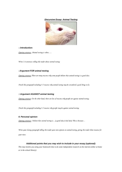 Discursive Essay Differentiated Template on Animal Testing