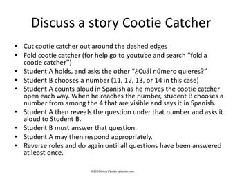 Discuss a Story Cootie Catcher