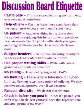 Discussion Board Etiquette