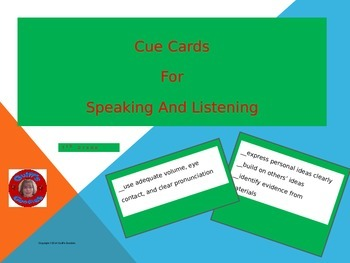 Discussion Cue Cards for Speaking and Listening Standards