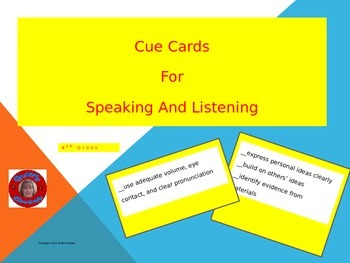 Discussion Cue Cards for Speaking and Listening Standards - 8th Grade