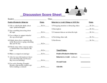 Discussion Evaluation Sheet