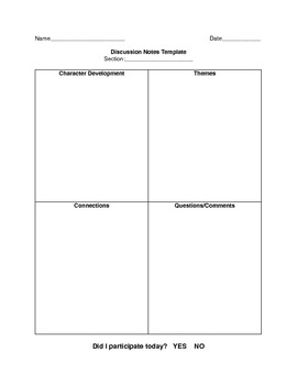 Discussion Notes Template