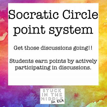 Socratic Circle Class Discussion point system worksheet and scoresheet