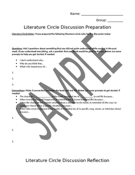 Discussion Prep Page and Rubric - Speaking and Listening Standards