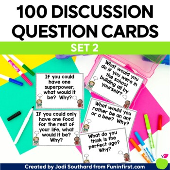 Discussion Question Cards - Building Classroom Community - SET 2