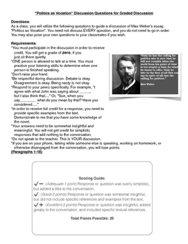 """Discussion Question for Max Weber's """"Politics as Vocation"""""""
