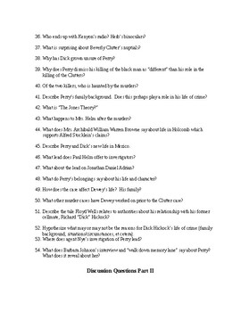 Discussion Questions & Vocabulary List for In Cold Blood by Truman Capote