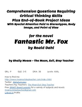 Discussion Questions and Activities for Fantastic Mr. Fox