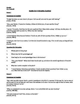 Discussion Questions for Act V of William Shakespeare's Hamlet
