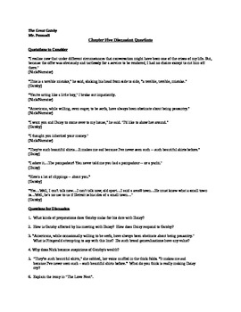 Discussion Questions for Chapter Five of F. Scott Fitzgera