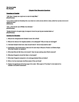 Discussion Questions for Chapter Nine of F. Scott Fitzgerald's The Great Gatsby
