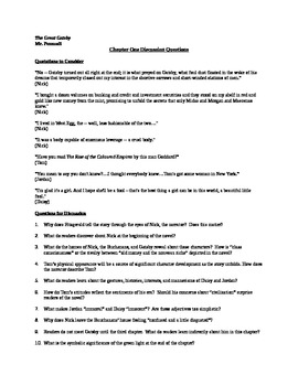 Discussion Questions for Chapter One of F. Scott Fitzgeral