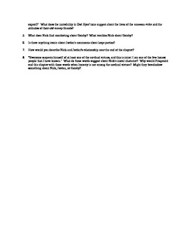 Discussion Questions for Chapter Three of F. Scott Fitzgerald's The Great Gatsby