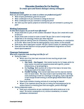 Discussion Questions for Co-Teaching
