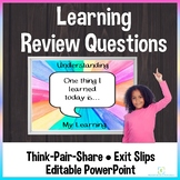 Discussion Questions for Exit Slips and Think Pair Share
